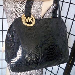 MICHAEL KORS Black Snakeskin Leather Shoulder Bag